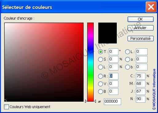 Photoshop - Le sélecteur de couleur