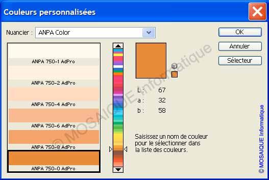 Photoshop - La boîte de dialogue Couleurs personnalisées