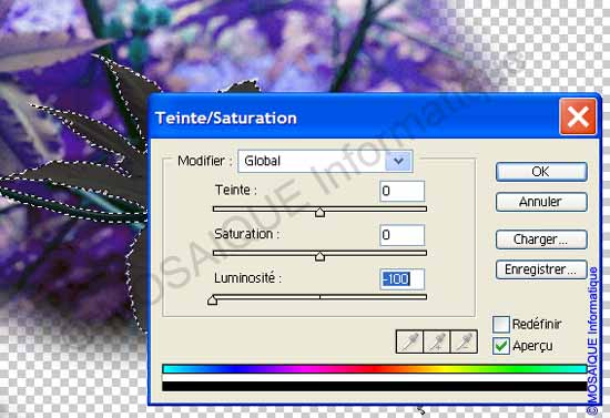 Photoshop - Réglage de teinte et de saturation