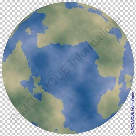 Photoshop - Le calque Nuages est superposé à la planète