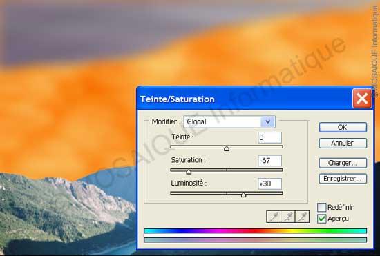 Photoshop - Réglage de la saturation et de la luminosité sur le second calque