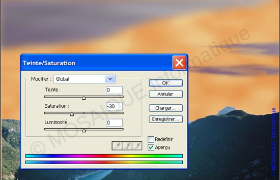 Photoshop - La désaturation des nuages
