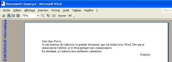 Le mode Aperçu avant impression - Word - MOSAIQUE Informatique - Nancy - 54 - Meurthe et Moselle - Lorraine