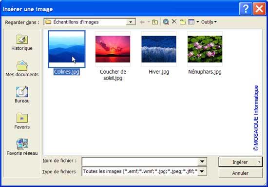 L'insertion d'une image - Word - MOSAIQUE Informatique - Tutoriels en ligne, formation informatique, bureautique, infographie, création de sites Internet - 54 - Nancy - Meurthe et Moselle - Lorraine