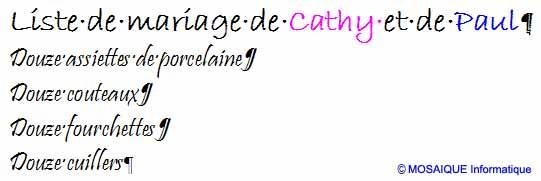 La mise en forme des caractères change immédiatement l'aspect de la liste - Word - MOSAIQUE Informatique - Tutoriels en ligne, formation informatique, bureautique, infographie, création de sites Internet - 54 - Nancy - Meurthe et Moselle - Lorraine