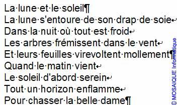 Le poème sans mise en forme - Word - MOSAIQUE Informatique - Tutoriels en ligne, formation informatique, bureautique, infographie, création de sites Internet - 54 - Nancy - Meurthe et Moselle - Lorraine