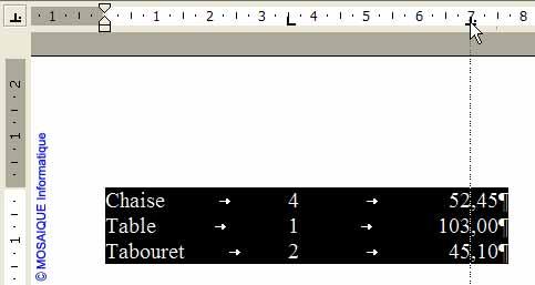Le taquet de tabulation est déplacé - Word - MOSAIQUE Informatique - Tutoriels en ligne, formation informatique, bureautique, infographie, création de sites Internet - 54 - Nancy - Meurthe et Moselle - Lorraine