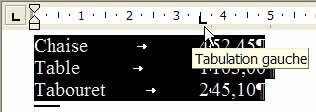 Le premier taquet de tabulation, aligné à gauche, est posé sur la règle - Word - MOSAIQUE Informatique - Tutoriels en ligne, formation informatique, bureautique, infographie, création de sites Internet - 54 - Nancy - Meurthe et Moselle - Lorraine