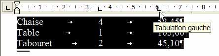 Le second taquet de tabulation, aligné à gauche, est posé sur la règle : il n'est pas adapté à la tabulation de nombres décimaux - Word - MOSAIQUE Informatique - Tutoriels en ligne, formation informatique, bureautique, infographie, création de sites Internet - 54 - Nancy - Meurthe et Moselle - Lorraine