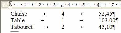 Le second taquet de tabulation, aligné à gauche, n'aligne pas les nombres sur la virgule - Word - MOSAIQUE Informatique - Tutoriels en ligne, formation informatique, bureautique, infographie, création de sites Internet - 54 - Nancy - Meurthe et Moselle - Lorraine