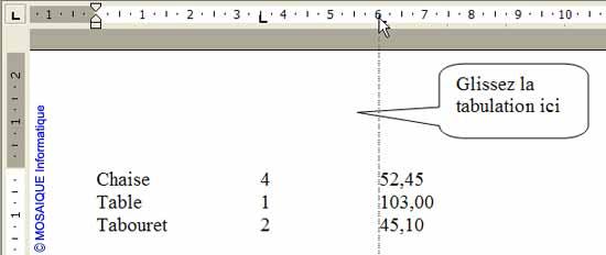 Le taquet de tabulation à supprimer est glissé dans le document - Word - MOSAIQUE Informatique - Tutoriels en ligne, formation informatique, bureautique, infographie, création de sites Internet - 54 - Nancy - Meurthe et Moselle - Lorraine