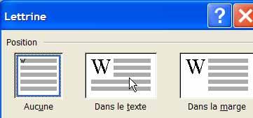 Le choix de la lettrine - Word - MOSAIQUE Informatique - Tutoriels en ligne, formation informatique, bureautique, infographie, création de sites Internet - 54 - Nancy - Meurthe et Moselle - Lorraine