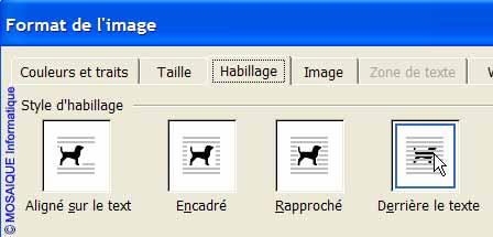 Un autre type d'habillage - Word - MOSAIQUE Informatique - Tutoriels en ligne, formation informatique, bureautique, infographie, création de sites Internet - 54 - Nancy - Meurthe et Moselle - Lorraine