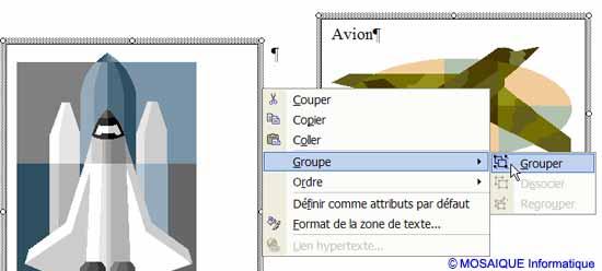 Les deux zones de texte sont groupées - Word - MOSAIQUE Informatique - Tutoriels en ligne, formation informatique, bureautique, infographie, création de sites Internet - 54 - Nancy - Meurthe et Moselle - Lorraine