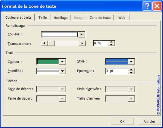 La boîte de dialogue Format de la zone de texte - Word - MOSAIQUE Informatique - Tutoriels en ligne, formation informatique, bureautique, infographie, création de sites Internet - 54 - Nancy - Meurthe et Moselle - Lorraine