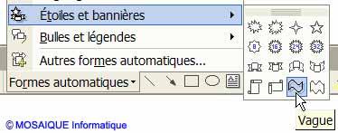 Le choix d'une forme automatique - Word - MOSAIQUE Informatique - Tutoriels en ligne, formation informatique, bureautique, infographie, création de sites Internet - 54 - Nancy - Meurthe et Moselle - Lorraine