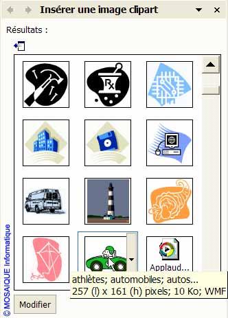 Le choix de l'image - Word - MOSAIQUE Informatique - Tutoriels en ligne, formation informatique, bureautique, infographie, création de sites Internet - 54 - Nancy - Meurthe et Moselle - Lorraine