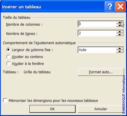 La boîte de dialogue Insérer un tableau - Word - MOSAIQUE Informatique - Tutoriels en ligne, formation informatique, bureautique, infographie, création de sites Internet - 54 - Nancy - Meurthe et Moselle - Lorraine