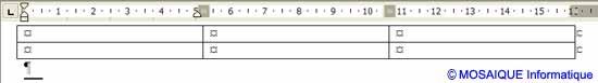 Le tableau vide, inséré dans le document - Word - MOSAIQUE Informatique - Tutoriels en ligne, formation informatique, bureautique, infographie, création de sites Internet - 54 - Nancy - Meurthe et Moselle - Lorraine
