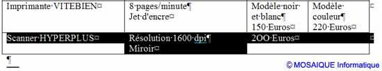 La sélection de la ligne - Word - MOSAIQUE Informatique - Tutoriels en ligne, formation informatique, bureautique, infographie, création de sites Internet - 54 - Nancy - Meurthe et Moselle - Lorraine