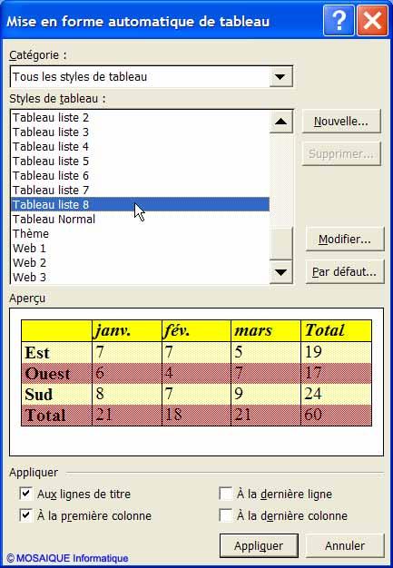 L'application d'une mise en forme automatique de tableau - Word - MOSAIQUE Informatique - Tutoriels en ligne, formation informatique, bureautique, infographie, création de sites Internet - 54 - Nancy - Meurthe et Moselle - Lorraine