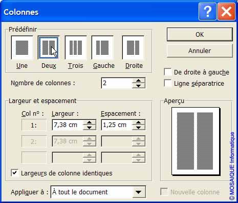La boîte de dialogue Colonnes - Word - MOSAIQUE Informatique - Tutoriels en ligne, formation informatique, bureautique, infographie, création de sites Internet - 54 - Nancy - Meurthe et Moselle - Lorraine