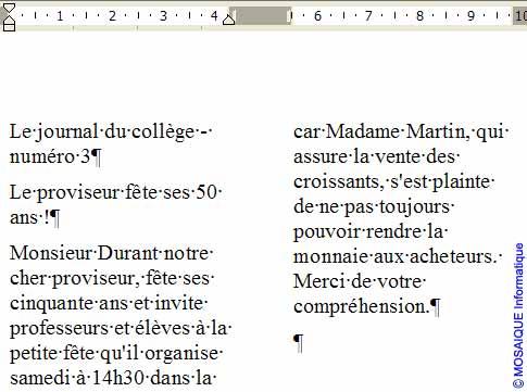 Le texte est formaté en deux colonnes - Word - MOSAIQUE Informatique - Tutoriels en ligne, formation informatique, bureautique, infographie, création de sites Internet - 54 - Nancy - Meurthe et Moselle - Lorraine