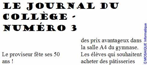 La première section est mise en forme sur une seule colonne - Word - MOSAIQUE Informatique - Tutoriels en ligne, formation informatique, bureautique, infographie, création de sites Internet - 54 - Nancy - Meurthe et Moselle - Lorraine