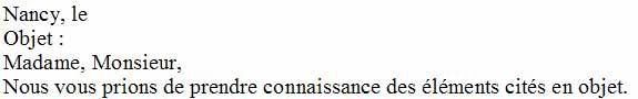 Le texte constituant le début du courrier - Word - MOSAIQUE Informatique - Tutoriels en ligne, formation informatique, bureautique, infographie, création de sites Internet - 54 - Nancy - Meurthe et Moselle - Lorraine