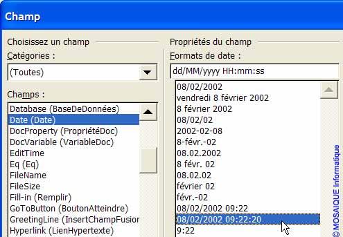 La modification du format d'affichage de la date - Word - MOSAIQUE Informatique - Tutoriels en ligne, formation informatique, bureautique, infographie, création de sites Internet - 54 - Nancy - Meurthe et Moselle - Lorraine