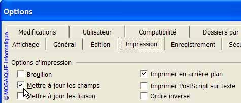 Les options d'impression - Word - MOSAIQUE Informatique - Tutoriels en ligne, formation informatique, bureautique, infographie, création de sites Internet - 54 - Nancy - Meurthe et Moselle - Lorraine