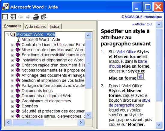 Les chapitres présentés dans l'aide - Word - MOSAIQUE Informatique - Formations informatiques et création de sites web - 54 - Nancy - Meurthe et Moselle - Lorraine