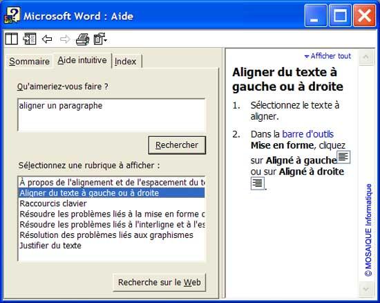 L'aide intuitive - Word - MOSAIQUE Informatique - Formations informatiques et création de sites web - 54 - Nancy - Meurthe et Moselle - Lorraine