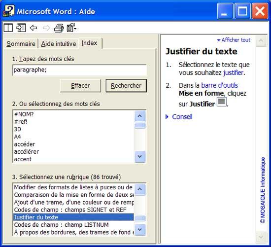 La recherche d'informations en mode Index - Word - MOSAIQUE Informatique - Formations informatiques et création de sites web - 54 - Nancy - Meurthe et Moselle - Lorraine