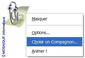 Le menu contextuel du Compagnon Office - Word - MOSAIQUE Informatique - Formations informatiques et création de sites web - 54 - Nancy - Meurthe et Moselle - Lorraine
