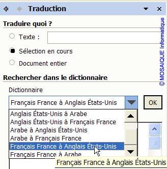 Le choix de la langue - Word - MOSAIQUE Informatique - Formations informatiques et création de sites web - 54 - Nancy - Meurthe et Moselle - Lorraine