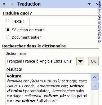 La traduction du mot sélectionné - Word - MOSAIQUE Informatique - Formations informatiques et création de sites web - 54 - Nancy - Meurthe et Moselle - Lorraine