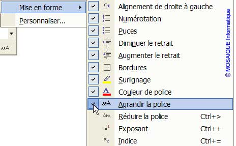 L'ajout du bouton Agrandir la police dans la barre d'outils Mise en forme - Word - MOSAIQUE Informatique - Formations informatiques et création de sites web - 54 - Nancy - Meurthe et Moselle - Lorraine