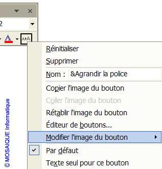 Le menu contextuel de personnalisation de l'icône - Word - MOSAIQUE Informatique - Formations informatiques et création de sites web - 54 - Nancy - Meurthe et Moselle - Lorraine