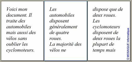 Le document utilise trois pages - Word - MOSAIQUE Informatique - Tutoriels en ligne, formation informatique, bureautique, infographie, création de sites Internet - 54 - Nancy - Meurthe et Moselle - Lorraine