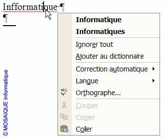 Le mot est corrigé par le menu contextuel - Word - MOSAIQUE Informatique - Tutoriels en ligne, formation informatique, bureautique, infographie, création de sites Internet - 54 - Nancy - Meurthe et Moselle - Lorraine