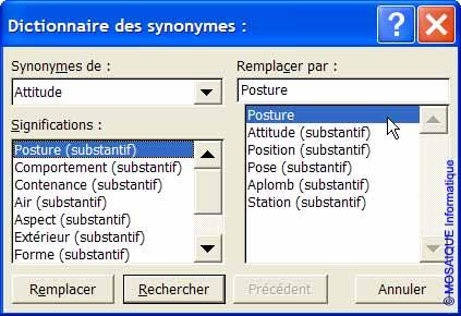 Le choix d'un synonyme - Word - MOSAIQUE Informatique - Tutoriels en ligne, formation informatique, bureautique, infographie, création de sites Internet - 54 - Nancy - Meurthe et Moselle - Lorraine