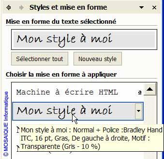 Le nouveau style est ajouté à la liste - Word - MOSAIQUE Informatique - Tutoriels en ligne, formation informatique, bureautique, infographie, PAO, création de sites Internet - Livres informatiques- 54 - Nancy - Meurthe et Moselle - Lorraine