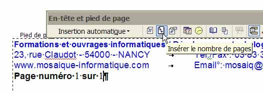 Le bouton Insérer le nombre de pages - Word - MOSAIQUE Informatique - Lorraine - Meurthe et Moselle - 54 - Nancy