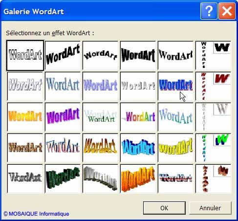 Le choix du wordart - Word - MOSAIQUE Informatique - Lorraine - Meurthe et Moselle - 54 - Nancy
