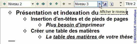 Les titres du document sont affichés jusqu'au troisième niveau - Word - MOSAIQUE Informatique - France - Lorraine - Meurthe et Moselle - 54 - Nancy