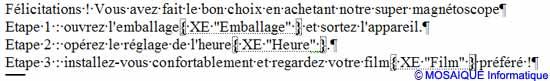 La symbolisation des marques d'index dans le document - Word - MOSAIQUE Informatique - France - Lorraine - Meurthe et Moselle - 54 - Nancy