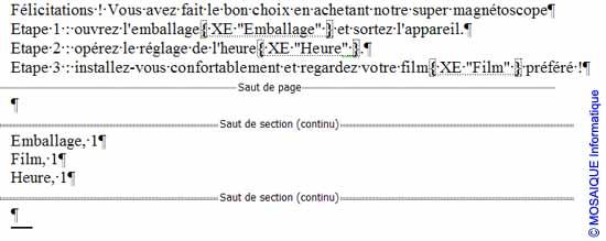 L'index est inséré dans le document - Word - MOSAIQUE Informatique - France - Lorraine - Meurthe et Moselle - 54 - Nancy