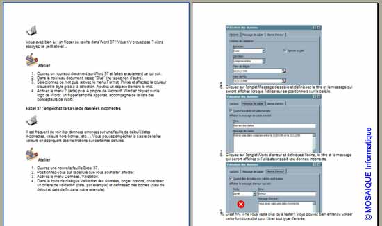 Les deux pages suivantes - Word - MOSAIQUE Informatique - France - Lorraine - Meurthe et Moselle - 54 - Nancy - La mise en page