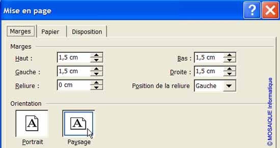 La boîte de dialogue Mise en page - Word - MOSAIQUE Informatique - France - Lorraine - Meurthe et Moselle - 54 - Nancy - La mise en page